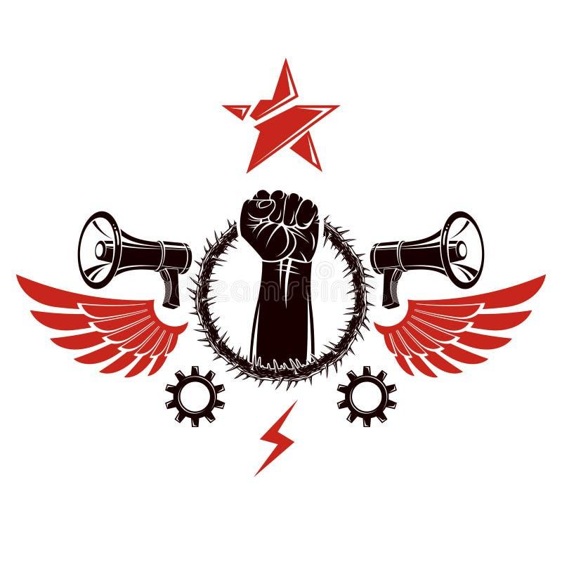 Vector el emblema compuesto con surrou apretado aumentado muscular del puño libre illustration