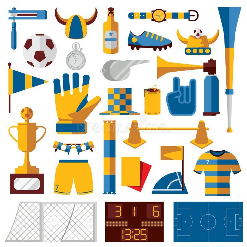 Vector el equipo del fútbol con el entrenamiento, la fan y jugar los objetos del fútbol, aislados en blanco Sistema brillante bue stock de ilustración