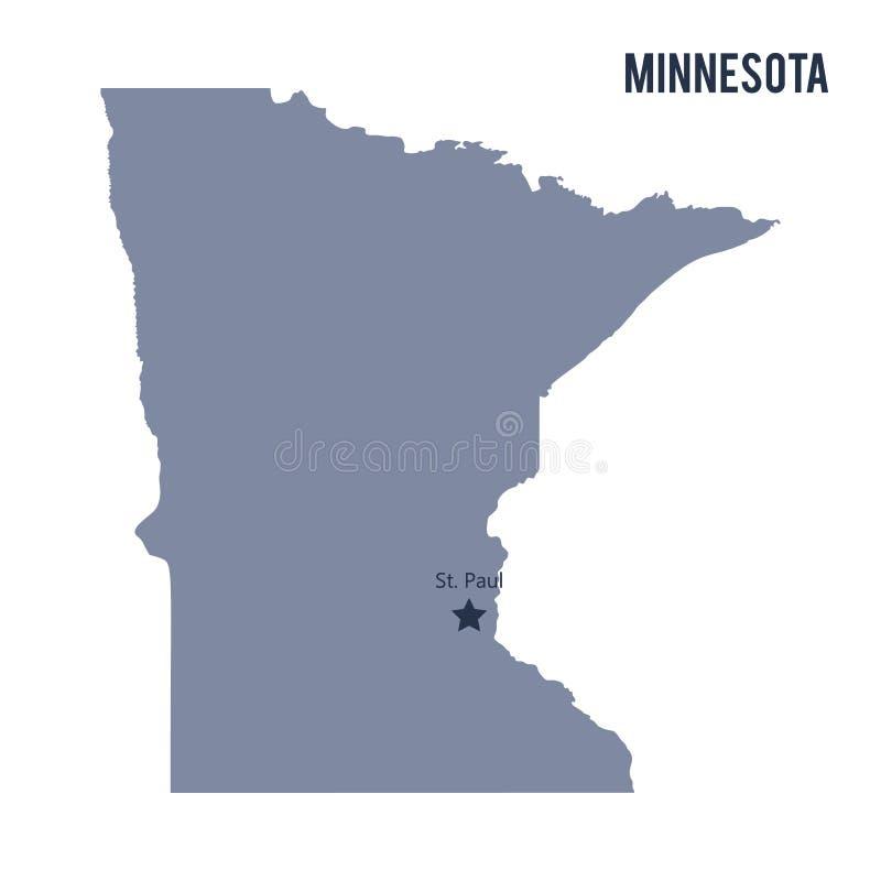Vector el estado del mapa de Minnesota aisló en el fondo blanco stock de ilustración