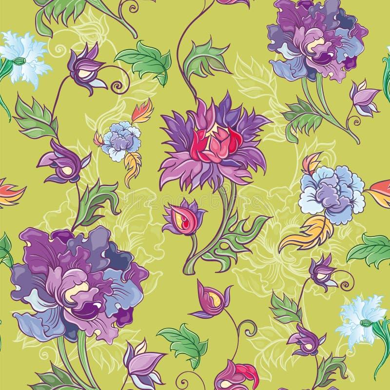 Vector el estampado de flores con el crisantemo, peonía, aster Tema asiático stock de ilustración