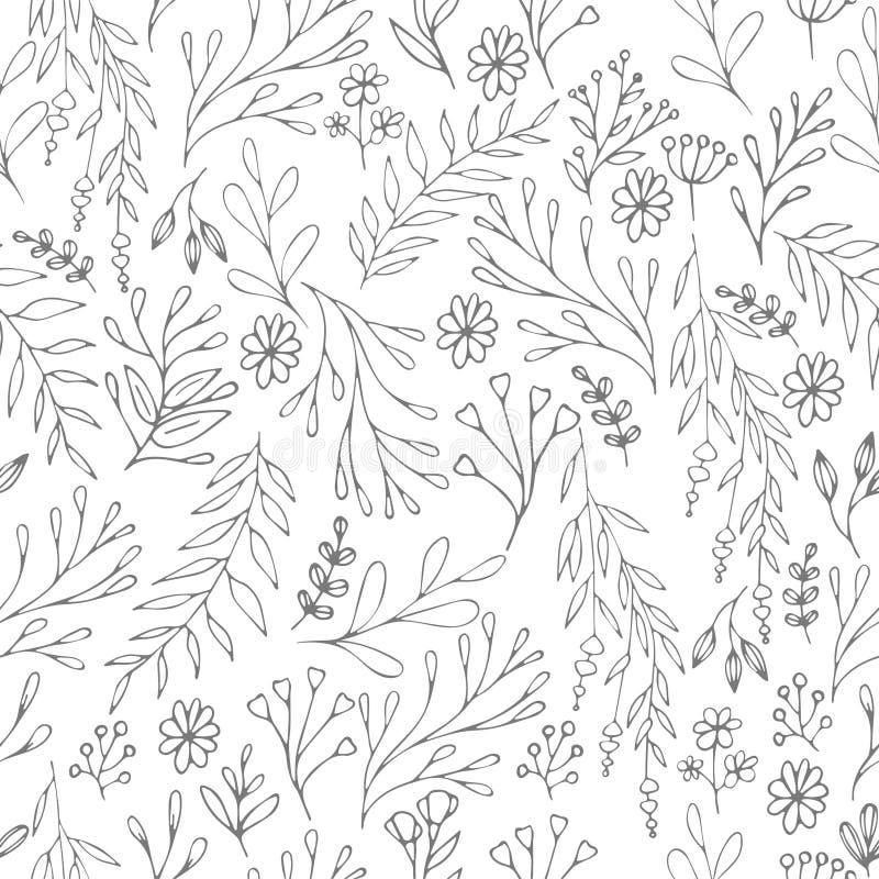 Vector el estampado de flores en estilo del garabato con las flores y las hojas Trate con suavidad, salte fondo floral imagenes de archivo
