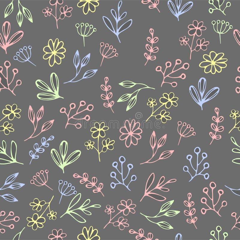 Vector el estampado de flores en estilo del garabato con las flores y las hojas Trate con suavidad, salte fondo floral imagen de archivo