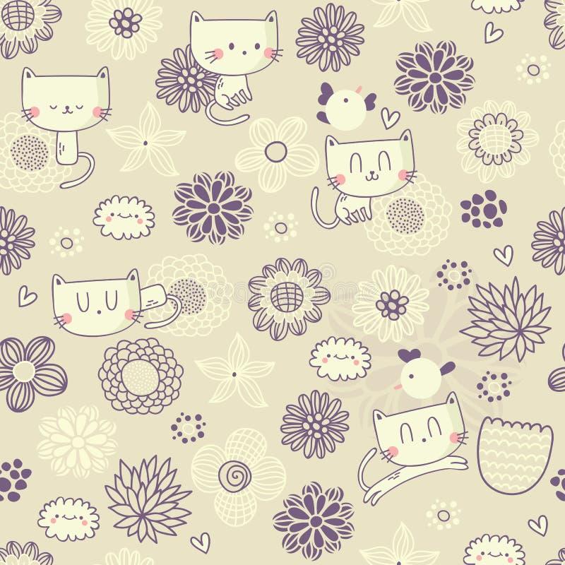 Vector el estampado de flores inconsútil con los gatos y los pájaros divertidos stock de ilustración