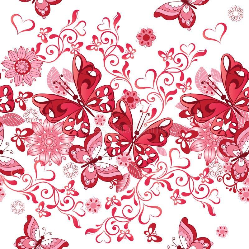 Vector el estampado de flores inconsútil de corazones y de mariposas rosados d stock de ilustración