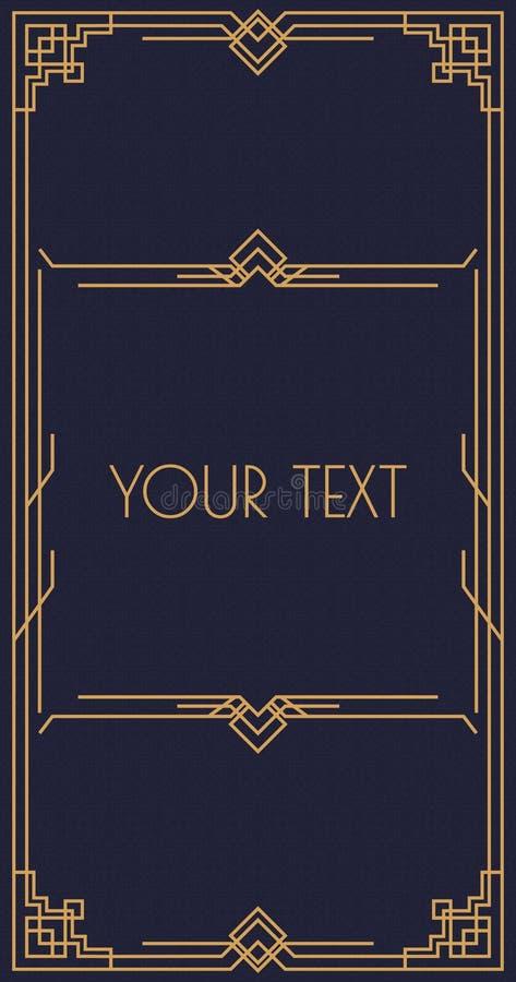 Vector el estilo del art déco de la plantilla de la invitación con la línea de marco estilo del oro para el restaurante del menú ilustración del vector