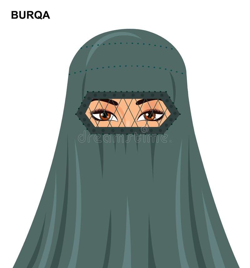 Vector el estilo del burqa, mujer musulmán árabe hermosa en el burqa - enfermedad stock de ilustración
