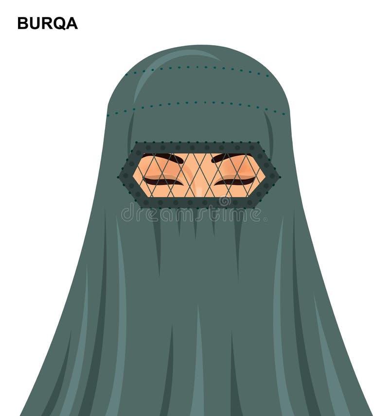 Vector el estilo del burqa, mujer musulmán árabe hermosa en el burqa - enfermedad libre illustration