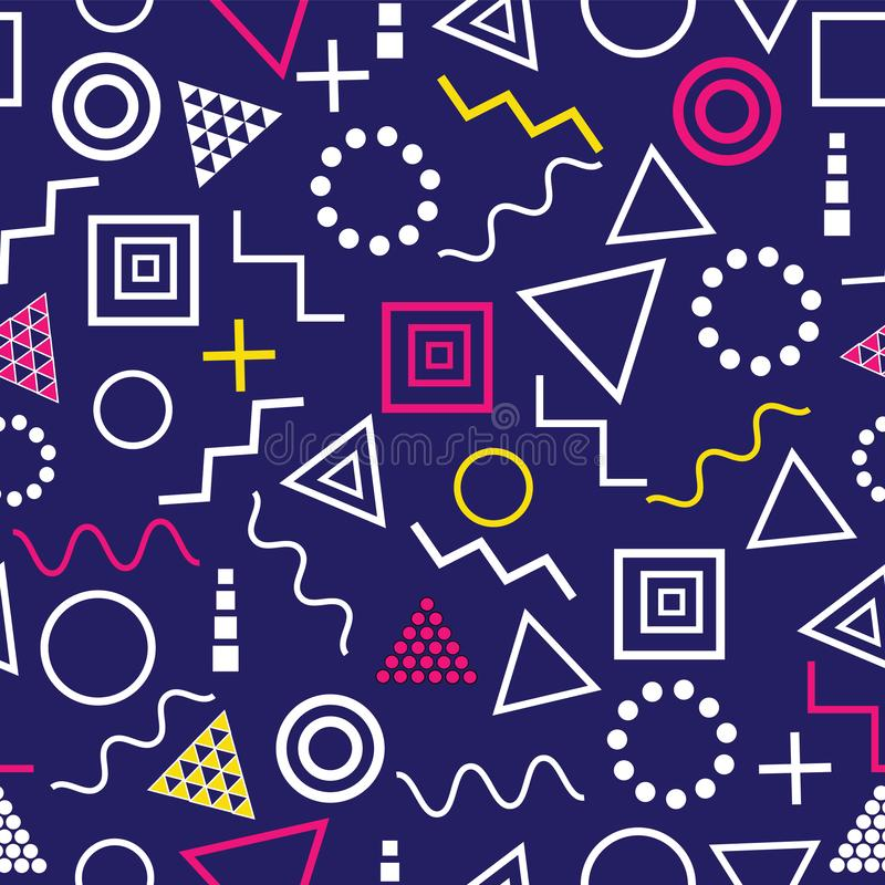 Vector el estilo inconsútil geométrico abstracto azul de Memphis del fondo del modelo libre illustration