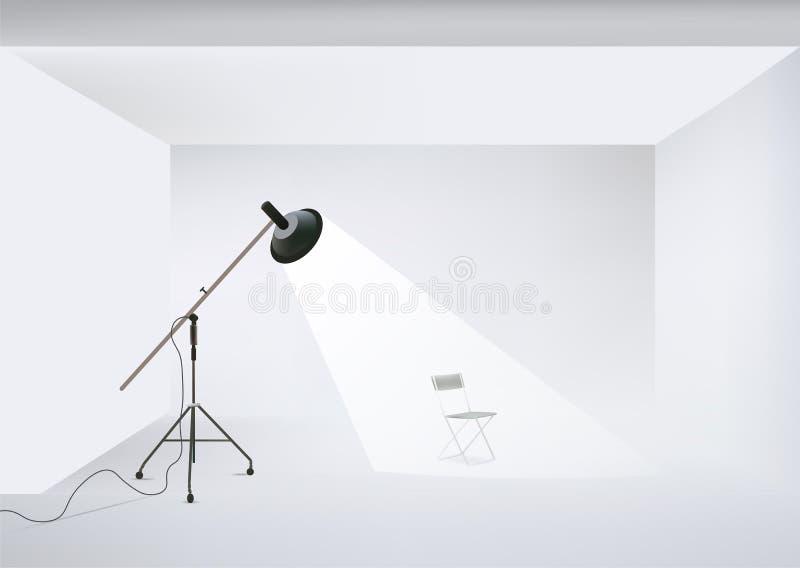 Vector el estudio de la foto con el equipo y la silla de iluminación libre illustration