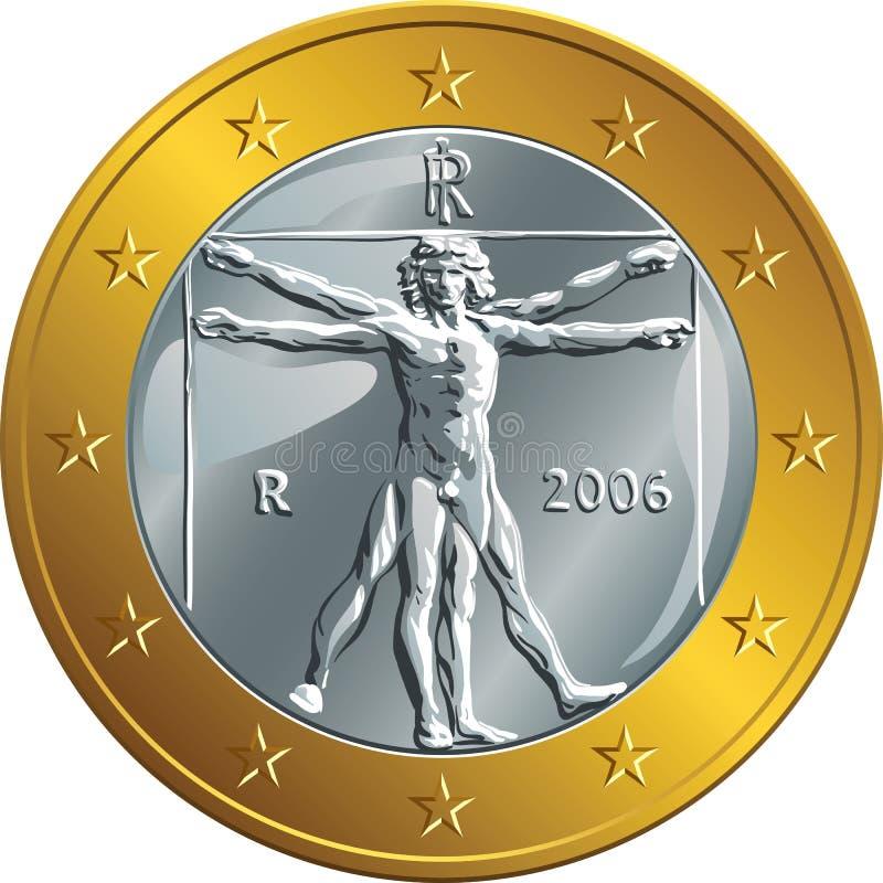 Vector el euro italiano de la moneda de oro del dinero una (Vitruvian stock de ilustración