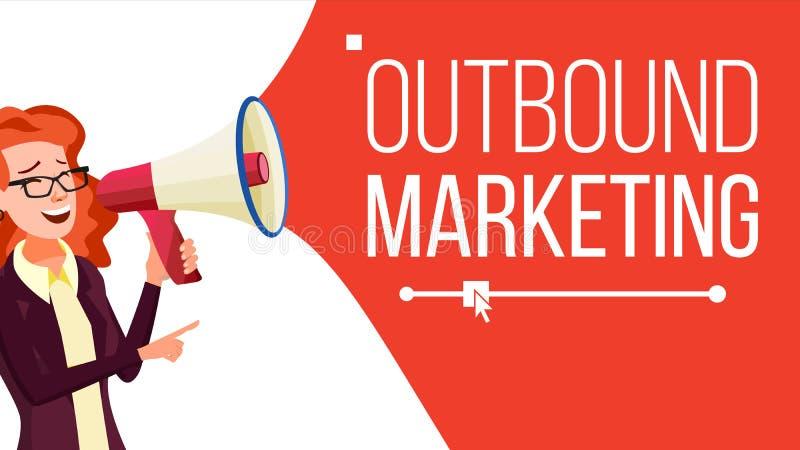 Vector el extranjero de la bandera del márketing Hembra con el megáfono altavoz Publicidad de negocio Lugar para el texto Aislado stock de ilustración