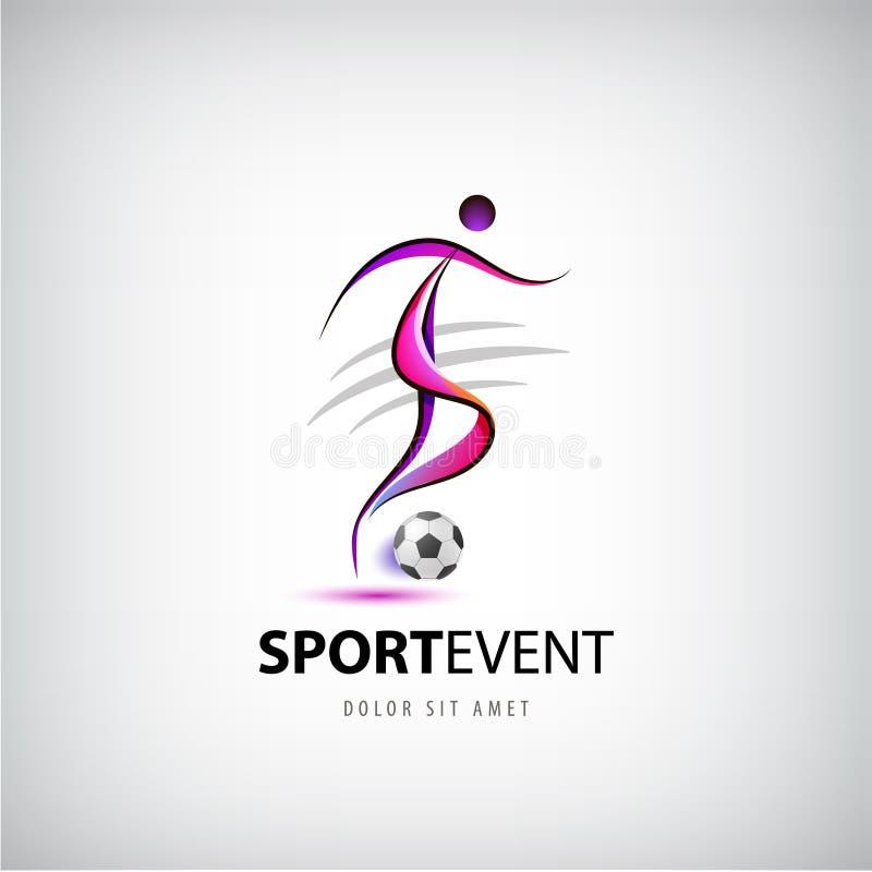 Vector el fútbol, logotipo del fútbol, hombre con la bola que juega la muestra stock de ilustración