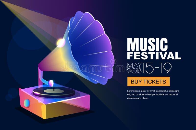 Vector el festival de jazz de la música, el cartel de neón que brilla intensamente o el fondo de la bandera Gramófono musical del ilustración del vector
