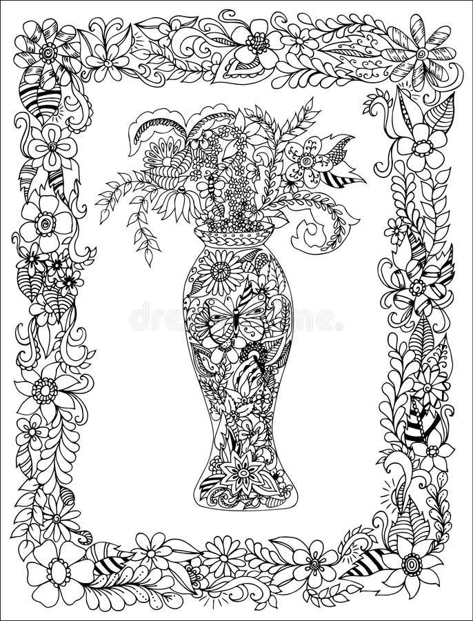 Vector el florero del zentang del ejemplo de flores en un marco Libros de colorear para el blanco antiesfuerzo del negro del vzro libre illustration