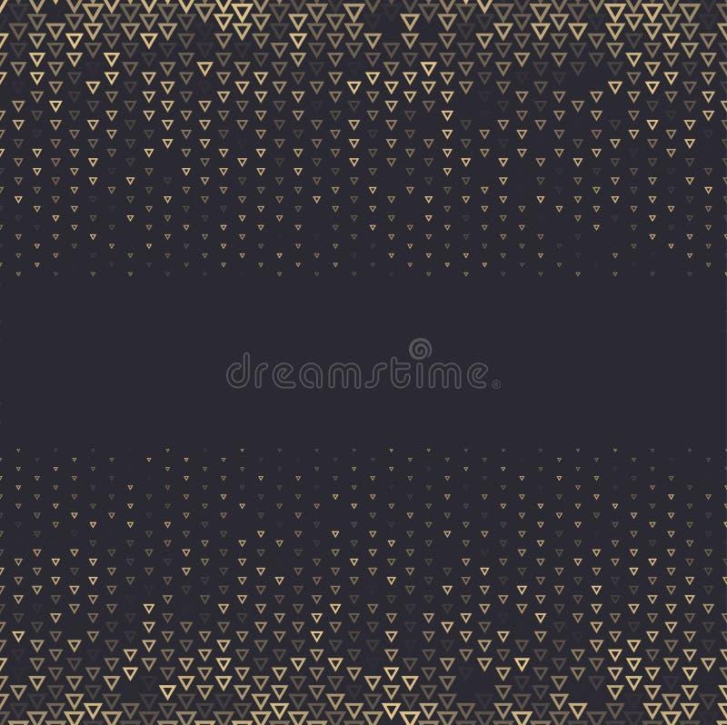 Vector el fondo abstracto de semitono, gradación negra de la pendiente del oro El triángulo geométrico del mosaico forma el model ilustración del vector