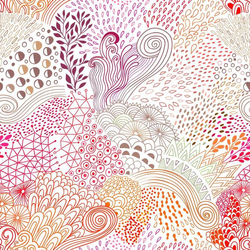 Vector el fondo abstracto inconsútil orgánico, adorno botánico, modelo a pulso de los garabatos libre illustration