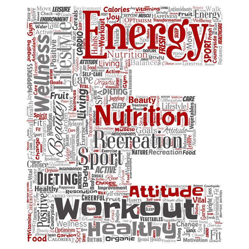 Vector el fondo aislado nube positiva viva sana de la palabra de la fuente de la letra del deporte de la nutrición Collage del cu ilustración del vector