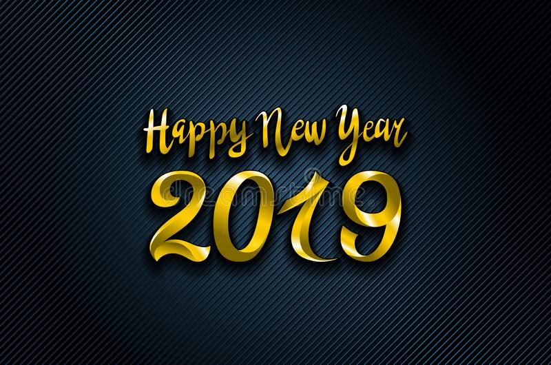 Vector el fondo azul de la Feliz Año Nuevo del oro 2019 para sus invitaciones temáticas estacionales de los aviadores y de la tar libre illustration