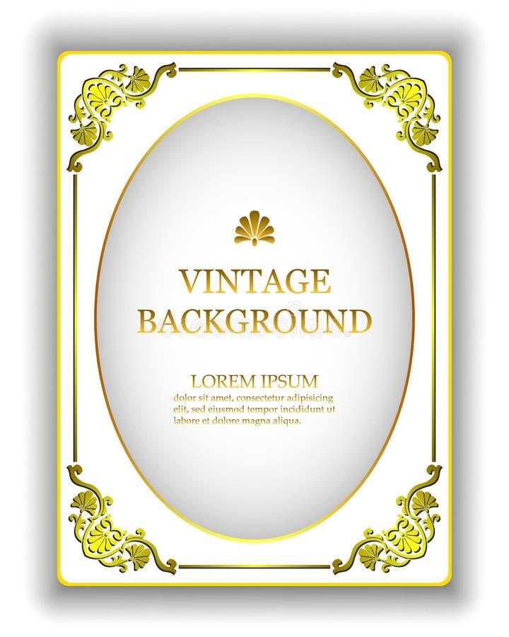 Vector el fondo blanco del vintage de la plantilla con un marco real del oro La maqueta para crear las invitaciones, tarjetas de  libre illustration