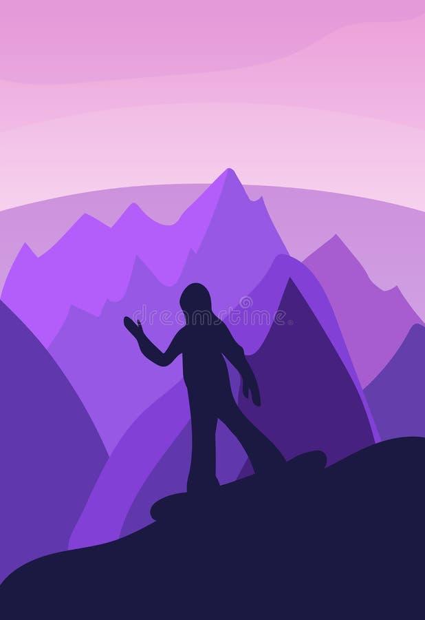 Vector el fondo con el ejemplo poligonal del paisaje con el ath stock de ilustración