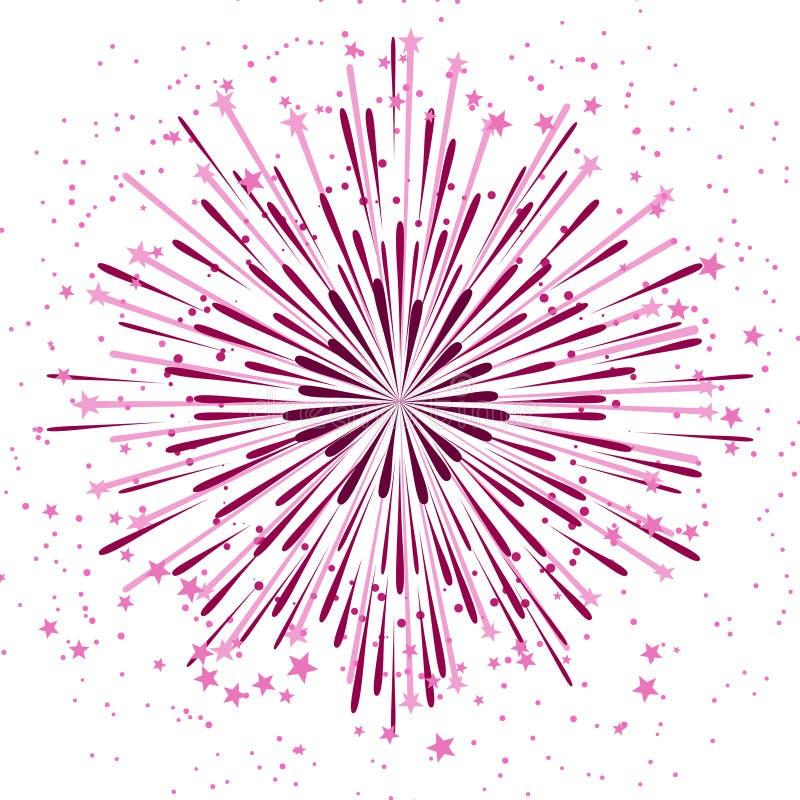 Vector el fondo con el aniversario que estalla los fuegos artificiales en blanco stock de ilustración