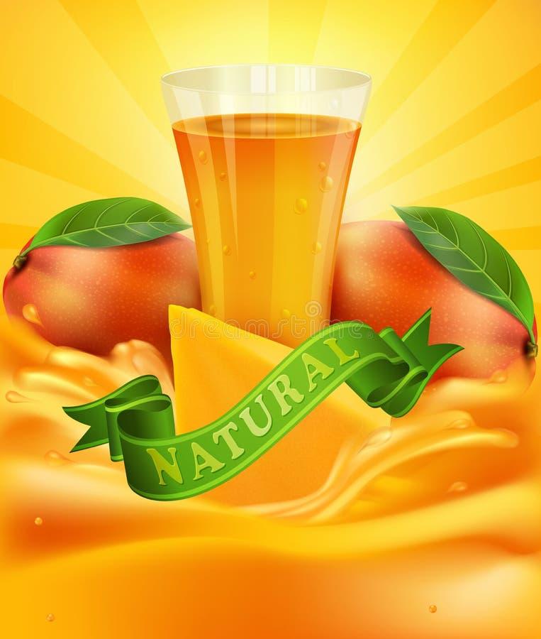 Vector el fondo con el mango, un vidrio del jugo, rebanadas de mango stock de ilustración