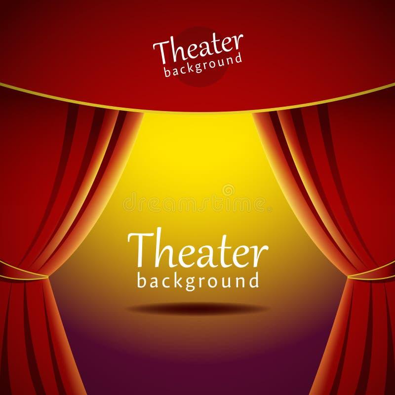 Vector el fondo con la etapa del teatro y la cortina roja stock de ilustración