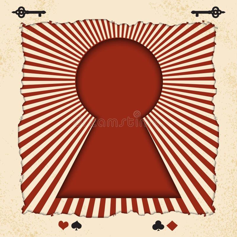Vector el fondo con la llave del cuento de hadas Alicia en el país de las maravillas Fondo del vector con los rayos en vintage libre illustration