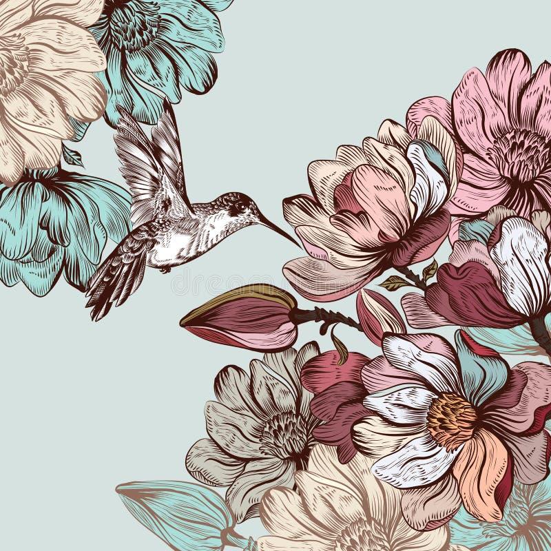 Vector el fondo con las flores y el pájaro de la magnolia en pocilga grabada stock de ilustración