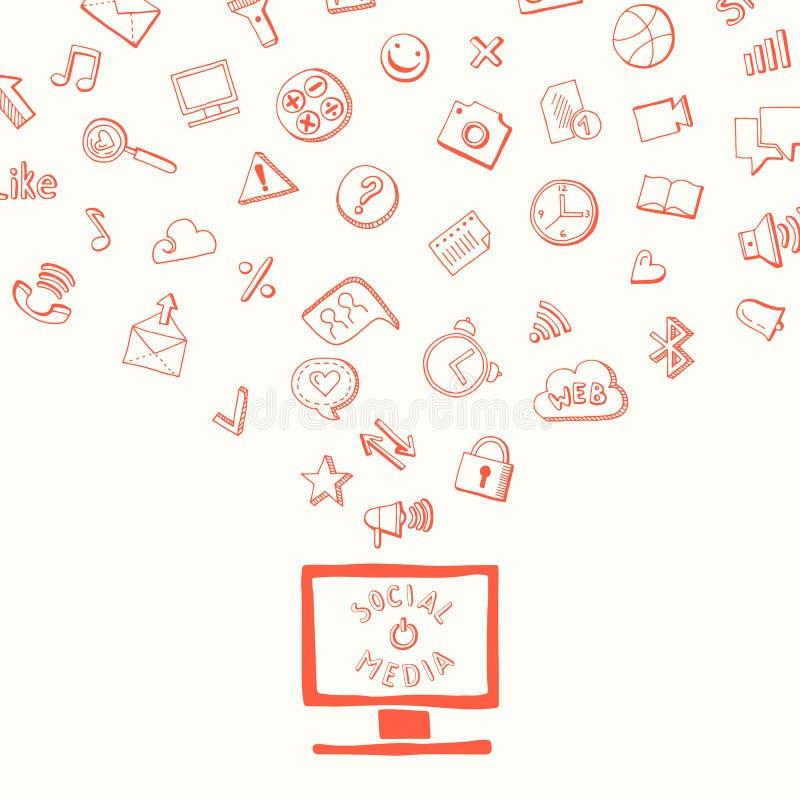 Vector el fondo con medios los elementos dibujados mano social que vuelan del monitor de computadora stock de ilustración