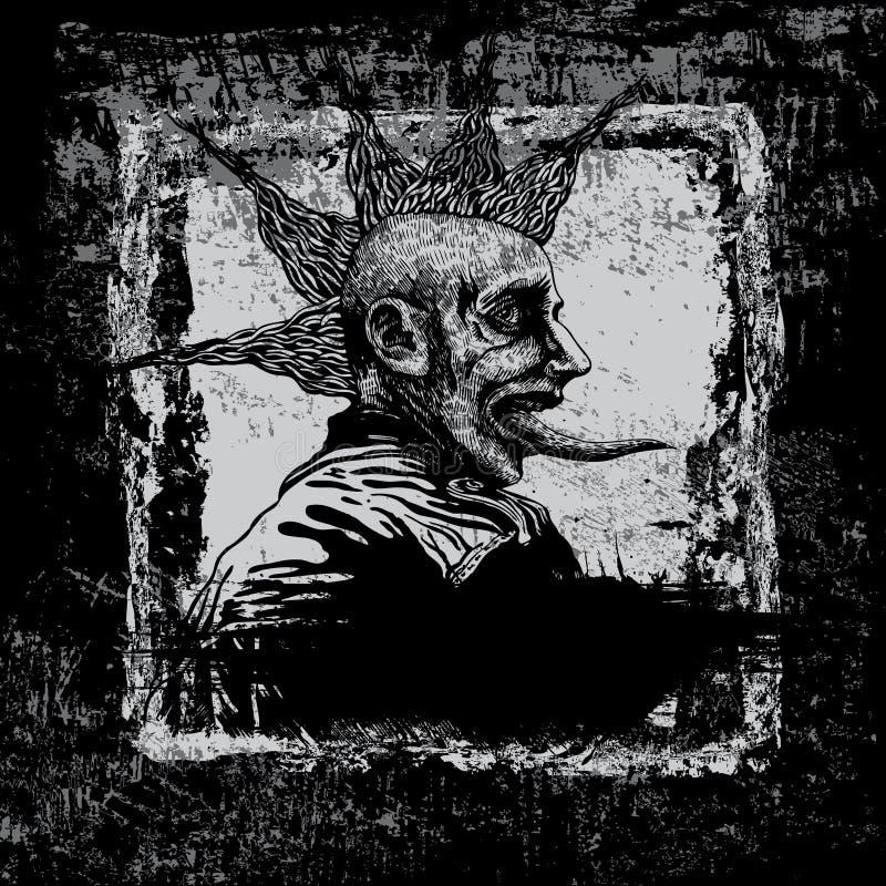 Vector el fondo con punky joven en estilo del grunge. stock de ilustración