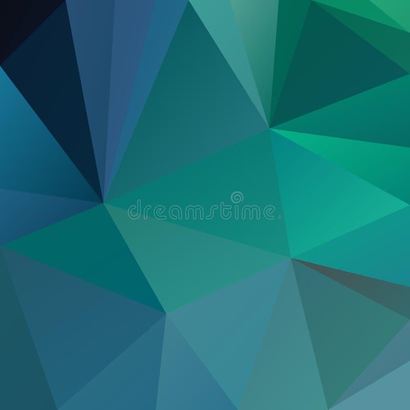 Vector el fondo cuadrado poligonal irregular - modelo polivinílico bajo del triángulo - azul, verde, la turquesa, el cerulean, la stock de ilustración