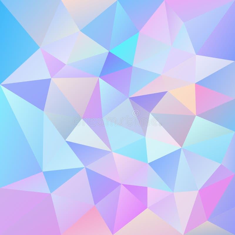 Vector el fondo cuadrado poligonal irregular - modelo polivinílico bajo del triángulo - color olográfico lindo - rosado, azul, pú ilustración del vector