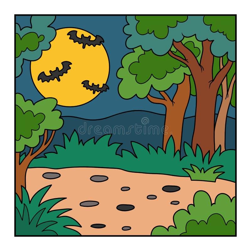 Vector el fondo de Halloween, paisaje con el bosque de la noche ilustración del vector