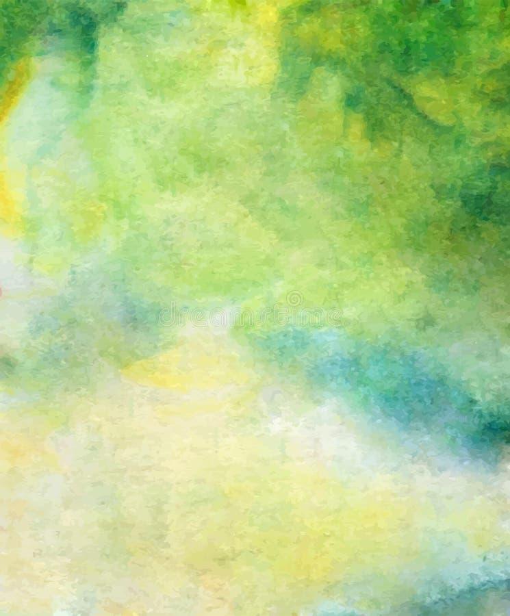 Vector el fondo de la acuarela para sus tarjetas de felicitación del diseño y las invitaciones verdes claros, azules, amarillos a ilustración del vector