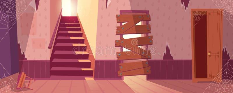 Vector el fondo de la casa abandonada, edificio solitario ilustración del vector