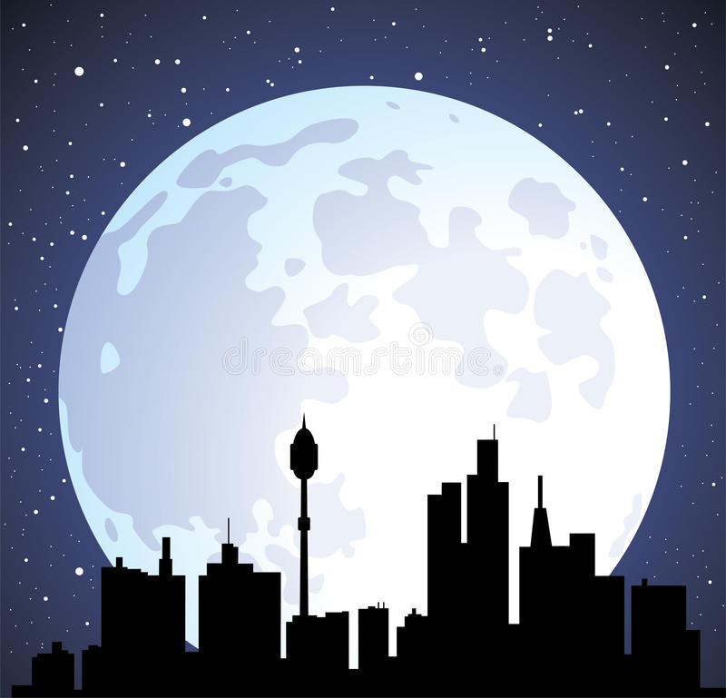vector el fondo y la luna de la ciudad stock de ilustración
