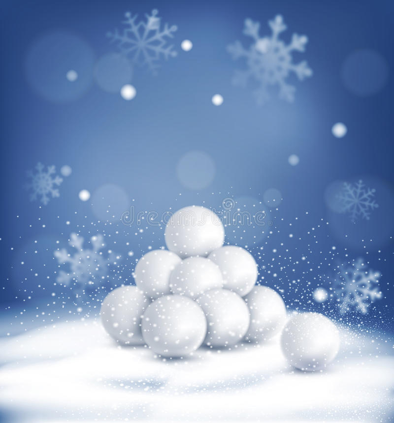 Vector el fondo de la Navidad con un manojo de bolas de nieve que mienten en t ilustración del vector