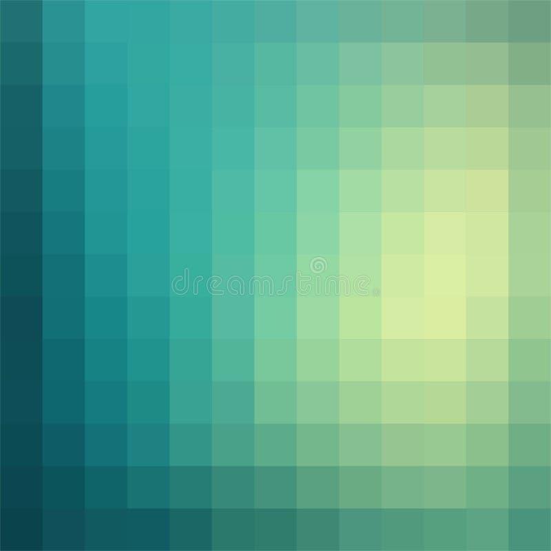 Vector el fondo de la pendiente en las sombras del verde hechas de cuadrados monocromáticos de pixeles ilustración del vector