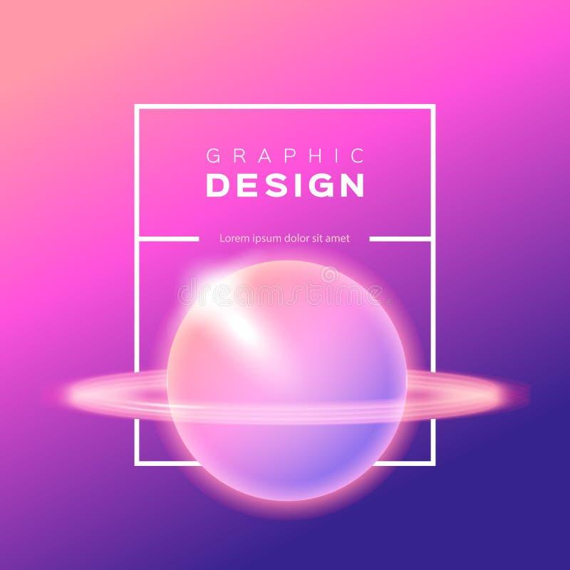 Vector el fondo de la pendiente, planeta abstracto brillante, Saturn, espacio, cielo Fondo violeta rosado amarillo de moda del om stock de ilustración
