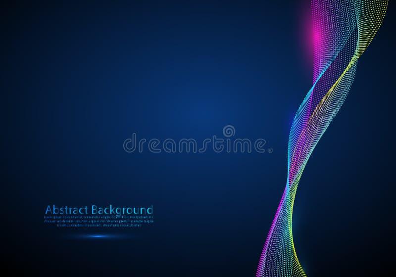 Vector el fondo de las partículas de la onda - onda digital iluminada 3D de partículas que brillan intensamente Ejemplo futurista stock de ilustración