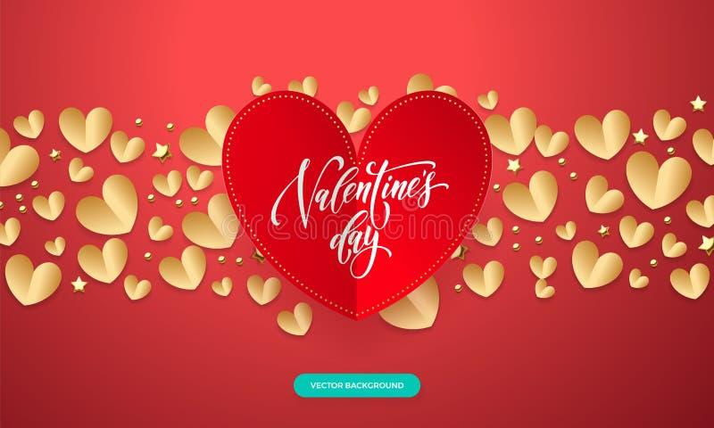 Vector el fondo de las tarjetas del día de San Valentín con el modelo romántico del corazón del corte del papel del rojo y del or stock de ilustración