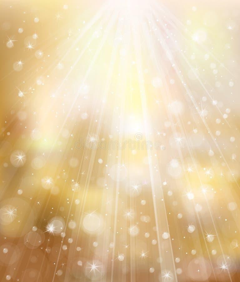 Vector el fondo de oro del brillo con los rayos y el lig libre illustration