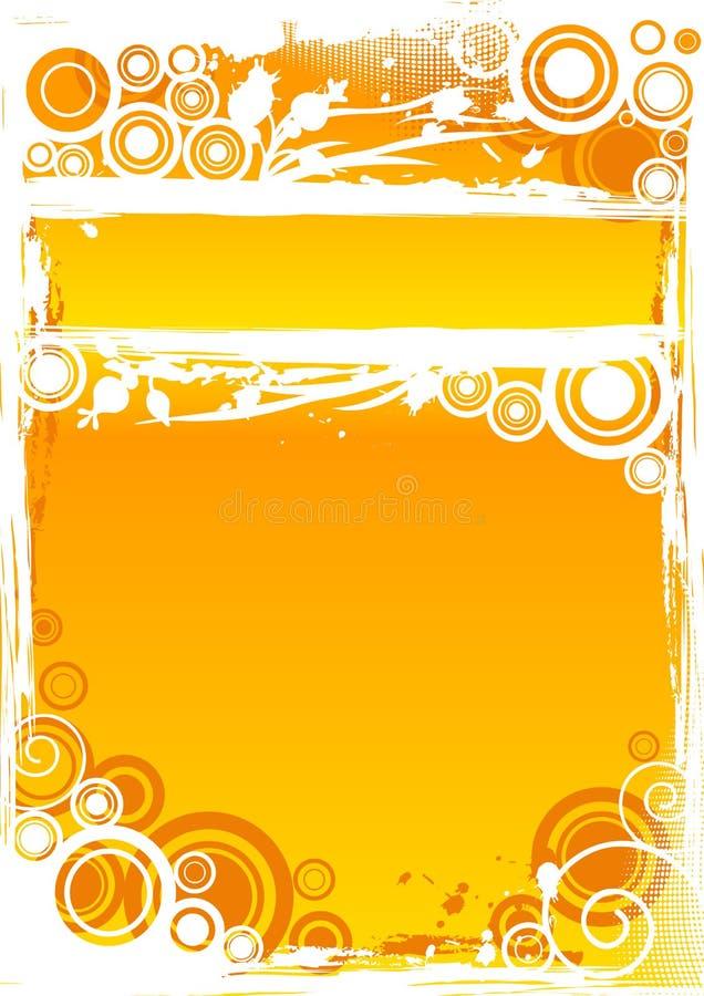 Vector el fondo del círculo del grunge en naranja con la barra de título destacada stock de ilustración