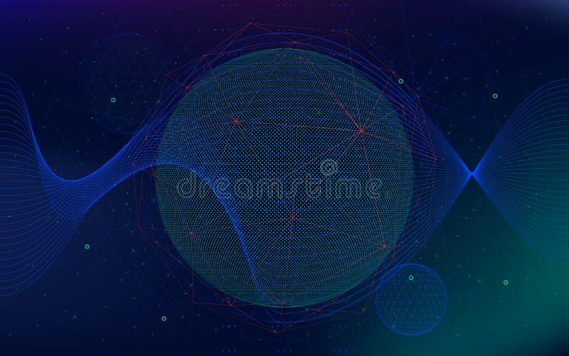 Vector el fondo del espacio infinito, universo hyperspace futurista del extracto, tecnologías de la ciencia ficción ilustración del vector