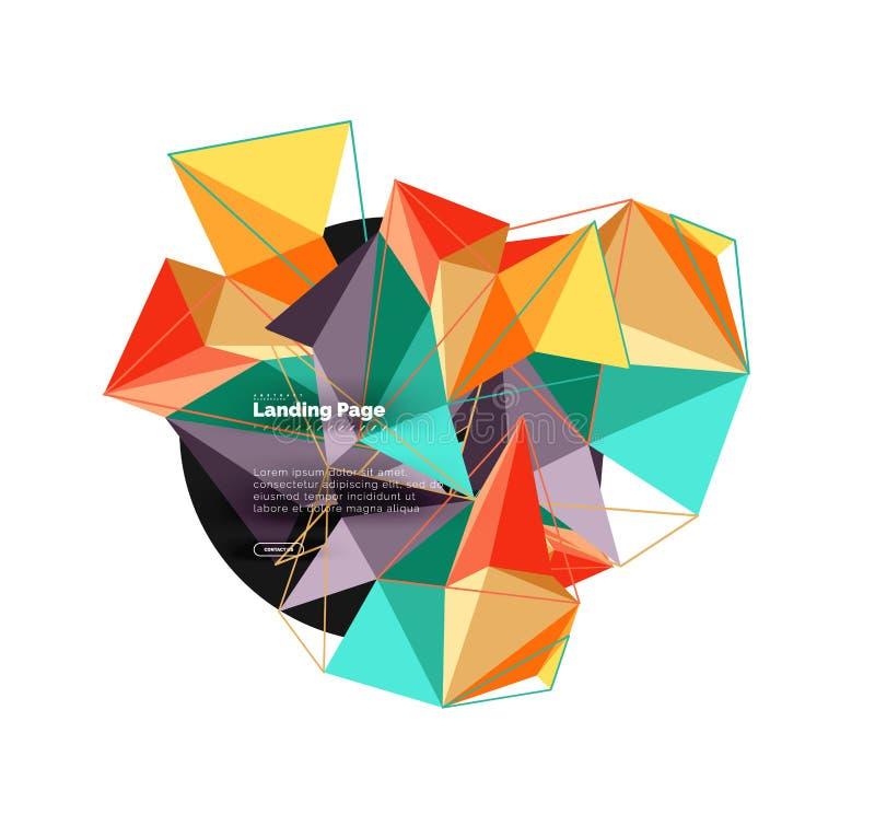 Vector el fondo del extracto del triángulo 3d, diseño geométrico poligonal stock de ilustración