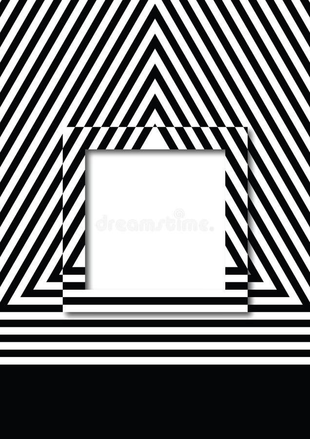 Vector el fondo del modelo de las rayas con diseño del cuadro de texto del cuadrado o del rectángulo stock de ilustración