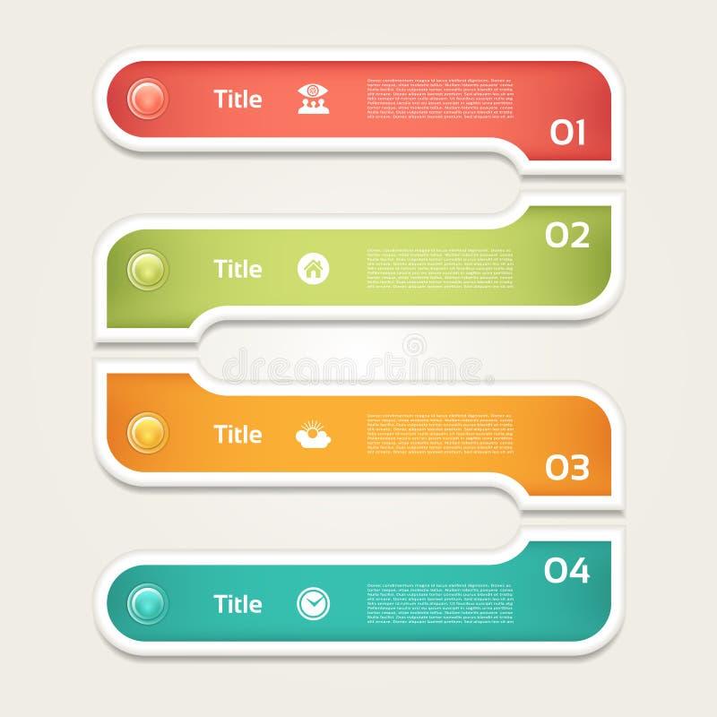 Vector el fondo del progreso/la opción o la versión de producto Cuatro pasos de progresión stock de ilustración