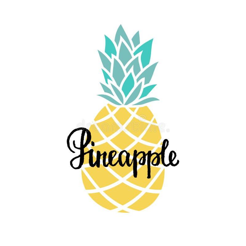Vector el fondo del verano con el texto escrito dibujado mano de la piña y de la mano Cartel brillante con la fruta exótica, poni stock de ilustración