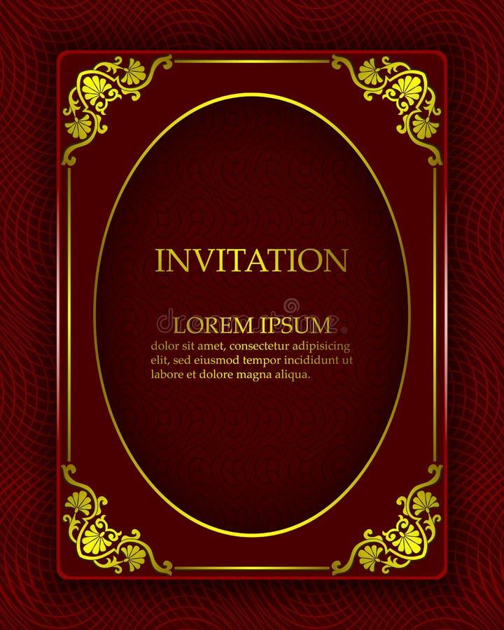 Vector el fondo del vintage en un estilo real lujoso con los ornamentos orientales del oro Plantilla para crear las invitaciones, stock de ilustración